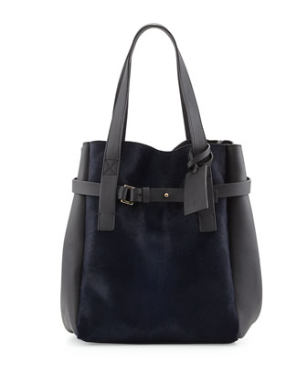Calf Hair & Leather Tote Bag, Navy/Dark Gray