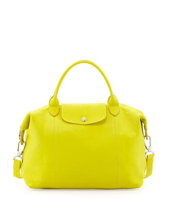 Le Pliage Cuir Handbag with Strap, Lemon