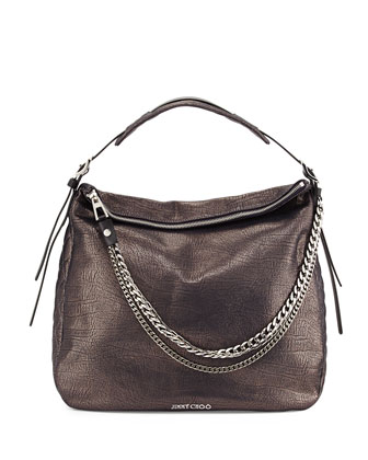 Boho Biker Metallic Hobo Bag, Metallic Navy