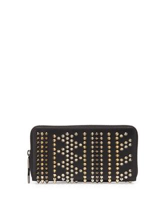 Panettone Studded Calfskin Wallet, Black Multi