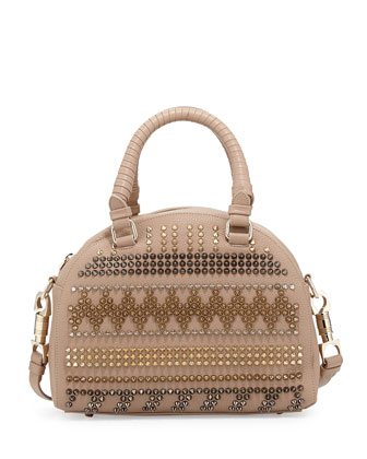 Panettone Small Chevron Satchel Bag, Beige Multi