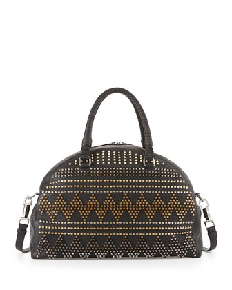 Panettone Large Spike Stud Satchel Bag, Black