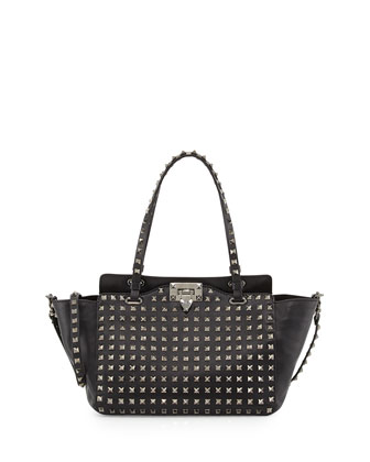 Noir Rockstud Mini Leather Studded Tote Bag, Black