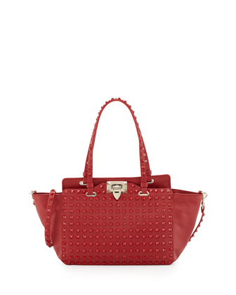 Rockstud Mini Leather Studded Tote Bag, Red