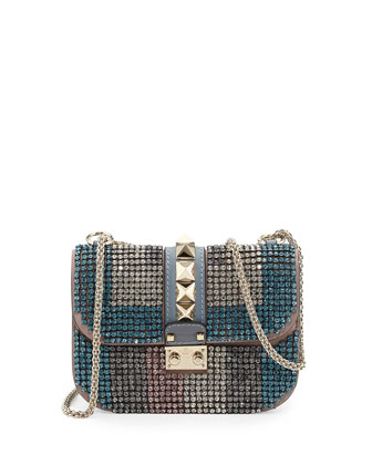 Glam Lock Crystal Shoulder Bag, Blue