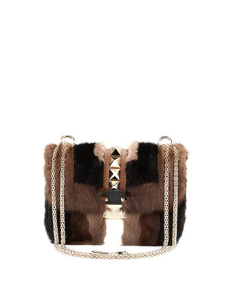 Glam Lock Mink Fur Shoulder Bag, Brown