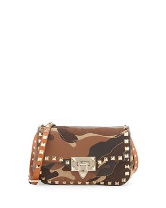 Camo Patchwork Crossbody Bag, Camel/Taupe