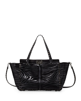 Noir Calf Hair Rockstud Tote Bag, Black