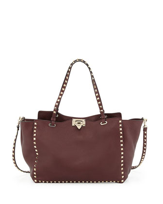Rockstud Grained Tote Bag, Bordeaux