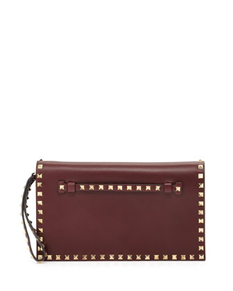 Rockstud Leather Flap-Top Clutch Bag, Bordeaux