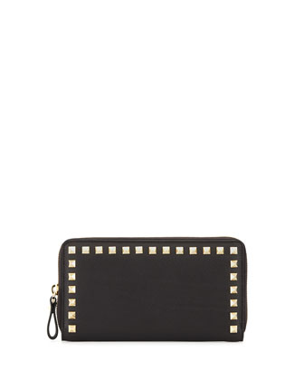 Rockstud Continental Zip Wallet, Black