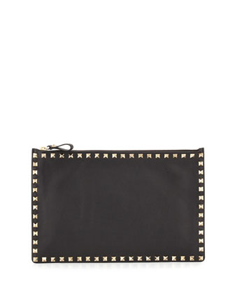 Rockstud Large Zip Pouch Bag, Black