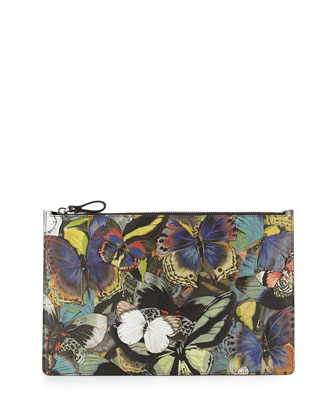 Butterfly Napa/Canvas Flat Pouch