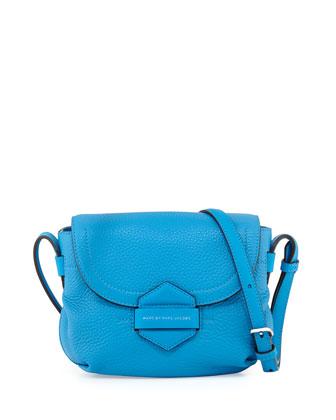 Half Pipe Pebbled Crossbody Bag, Blue Glow
