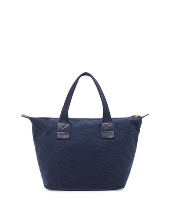 Domo Arigato Chambray Zip Tote Bag, Twilight Navy