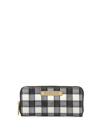 Goodbye Columbus Brush-Check Slim Zip Wallet, Black/White
