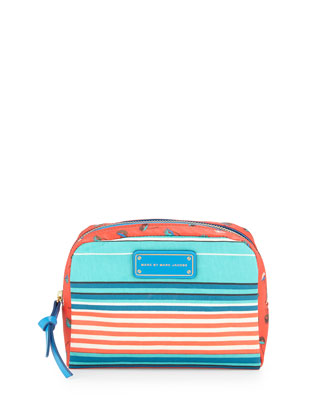 Striped Large Cosmetic Pouch, Aqua Lagoon Multi