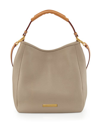 Softy Leather Saddle Hobo Bag, Creme