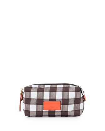 Domo Arigato Brushed Check Cosmetic Pouch, Black Multi