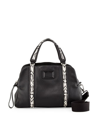Classic Q Snake-Print Trim Satchel Bag, Black