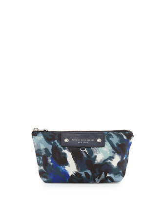 Pretty Nylon Painterly Cosmetic Bag, Blue Multi