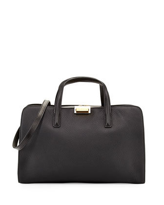 In The Grain Leather Satchel Bag, Black