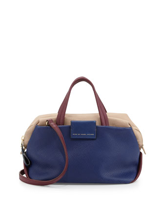 Colorblock Leather Box Satchel Bag, Ultra Blue Multi