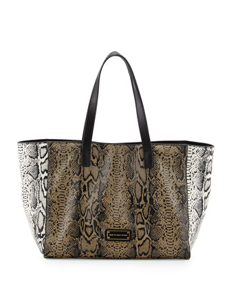 Here's the T Snake-Print Tote Bag, Brindle Multi