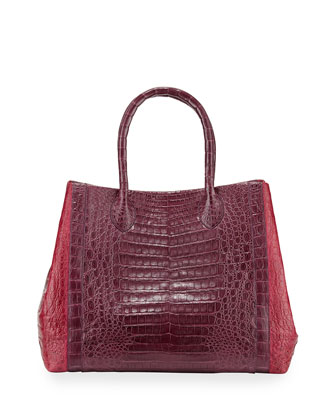 Large Transformer Crocodile Tote, Bordeaux/Berry