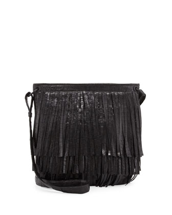 Crocodile Fringe Crossbody Bag, Black