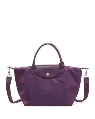 Le Pliage Neo Small Handbag with Strap, Bilberry
