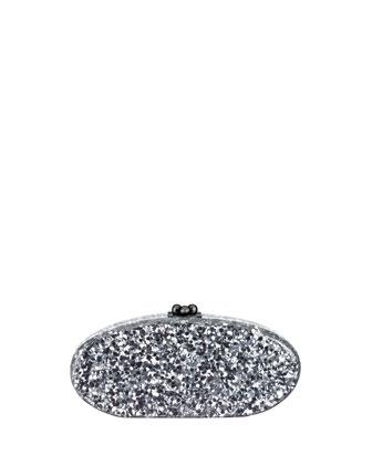 Edie Confetti Acrylic Clutch Bag, Silver