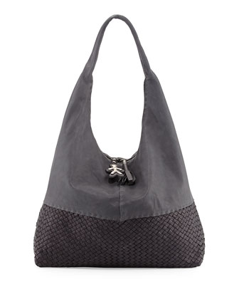Canotta Woven-Bottom Hobo Bag, Gray