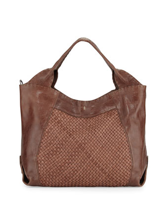 Beverly Woven Double-Handle Tote Bag, Tan