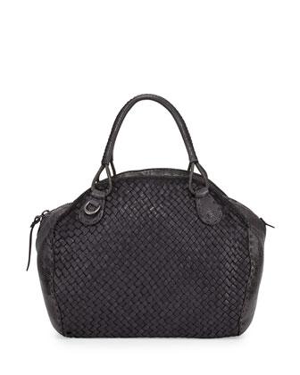Keira Woven Satchel Bag, Gray