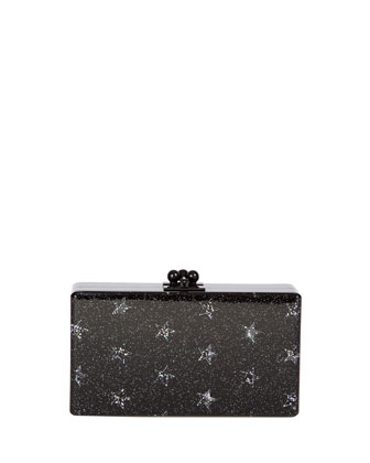 Jean Stars Acrylic Clutch Bag, Black
