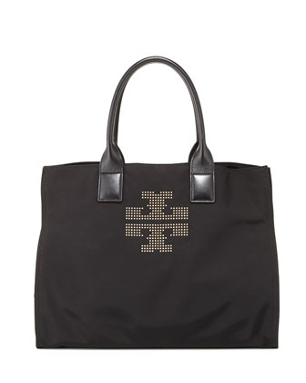 Ella Studded Nylon Tote Bag, Black