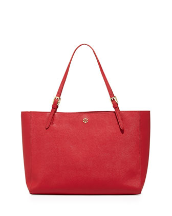 York Saffiano Leather Tote Bag, Poppy Orange