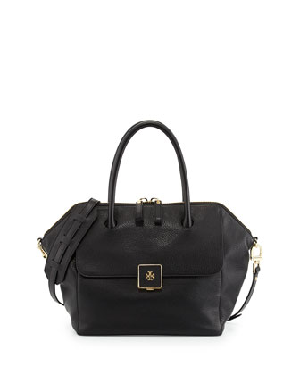 Clara Leather Satchel Bag, Black