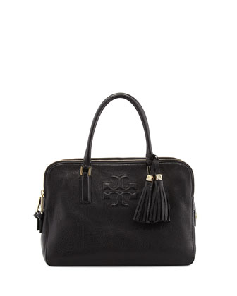 Thea Triple-Zip Satchel Bag, Black