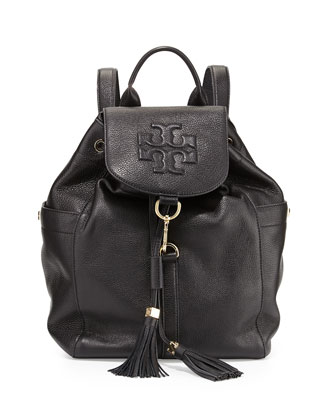 Thea Drawstring Leather Backpack, Black