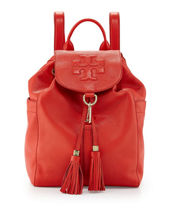 Thea Drawstring Leather Backpack, Jasper (Red)