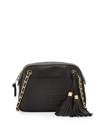 Thea Pebbled Crossbody Bag, Black