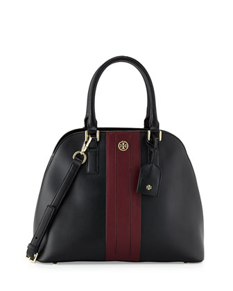 Robinson Stripe Open-Top Dome Satchel Bag, Black