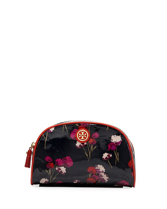 Field Flowers Coated Cosmetic Case, Black