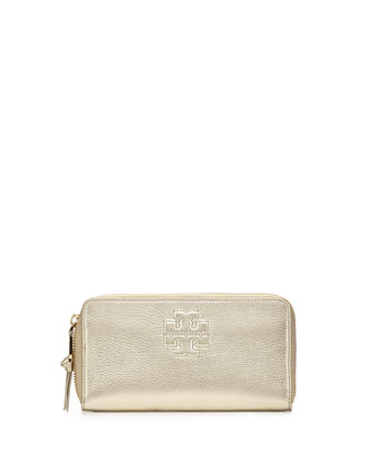 Thea Metallic Continental Zip Wallet, Light Gold