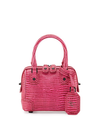 Olivia Mini Two-Tone Lizard Crossbody Bag, Pink