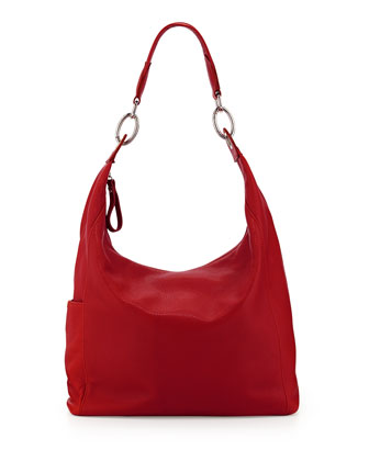Foulonne Pebbled Hobo Bag, Vermillion