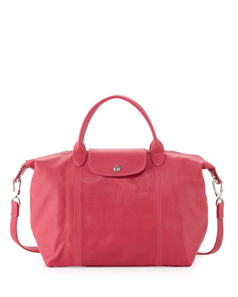 Le Pliage Cuir Handbag with Strap, Pink Candy