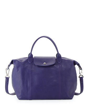 Le Pliage Cuir Handbag with Strap, Amethyst